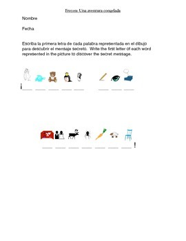 Frozen Activity Packet and Movie Guide in Spanish/ Una aventura congelada