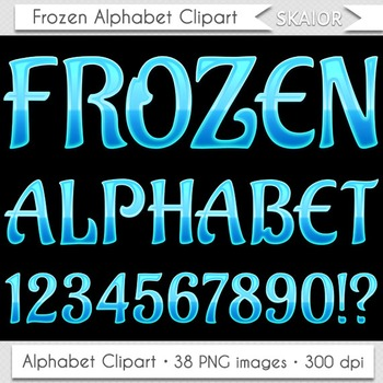 Frozen Alphabet Clipart Blue Letters Numbers Christmas Alphabet Winter Alphabet