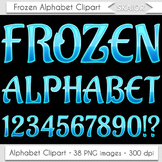 Frozen Alphabet Clipart Blue Letters Numbers Christmas Alp