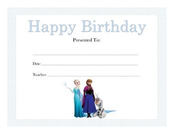 Frozen Birthday Certificates (Includes 4 Certificates)