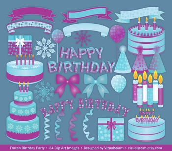 Winter Birthday Clip Art - 34 Blue and Purple Birthday Party Illustrations
