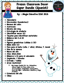 Frozen Classroom Decor Super Bundle (SPANISH)