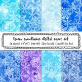Frozen Digital Paper, Snowflakes Blue and Purple Digital Backgrounds