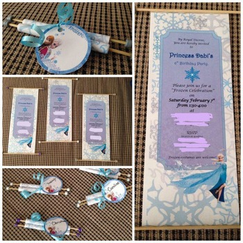 Frozen Elsa Birthday Scroll Invitations by Caitlins Corner TpT