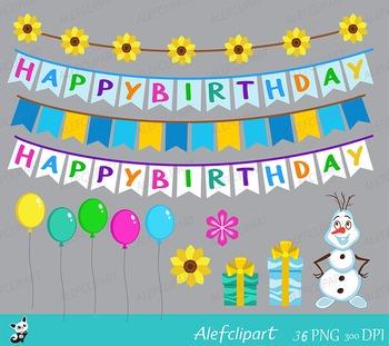 Frozen Fever - Sunflower Birthday Clipart Set.