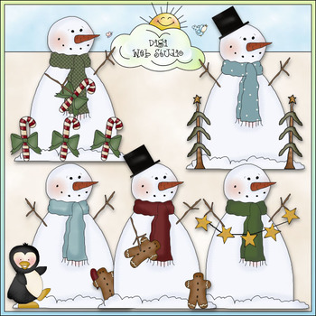 Frozen Frankie Clip Art - Christmas Snowman Clip Art - CU Colored Clip Art