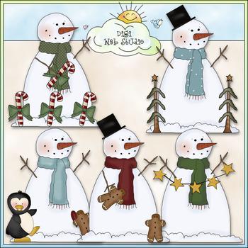 Frozen Frankie Clip Art - Christmas Snowman Clip Art - CU