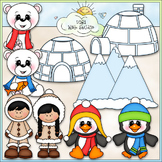 Frozen Friends Clip Art - Eskimo ClipArt - Penguin, Polar Bear -CU ClipArt & B&W