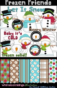 Frozen Friends Clipart And Digital paper Collection~ Snowman Clipart