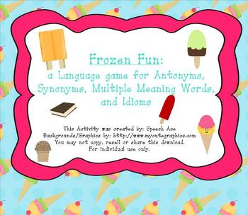 Frozen Fun: a Language Game with Antonyms, Synonyms, Homonyms, and Idioms