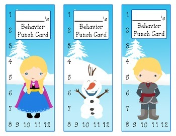 Frozen Inspired Behavior Punch Cards