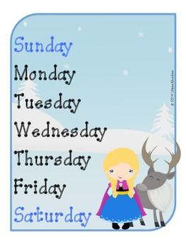 Frozen Inspired FULL YEAR calendar