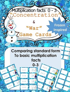 Frozen Inspired Multiplication facts (0-3)  Concentration & War Card Games