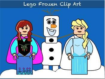 Clip Art: Princess and Snow Friends (Like Legos)