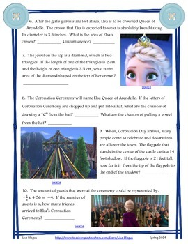 Frozen:  Middle School Math Review with Elsa & Anna