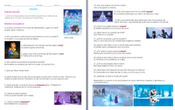 Frozen Movie Guide Questions in Spanish. Una aventura congelada