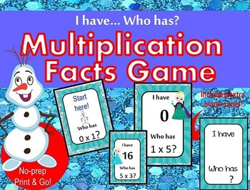 Frozen Multiplication facts - I have Who has Game