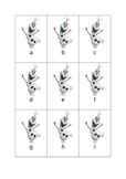 Frozen Olaf Alphabet letter cards - upper and lower case.