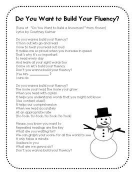 """Frozen Parody Freebie: """"Do You Want to Build Your Fluency?"""""""