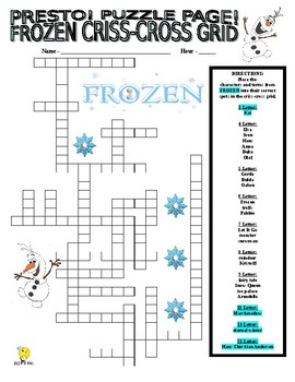 Frozen Puzzle Page (Wordsearch and Criss-Cross)