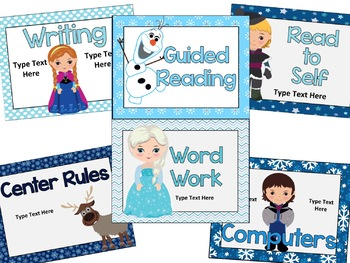 Frozen Reading Center Signs