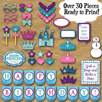 Frozen Snow Princess Photo Booth Props and Decorations - Printable