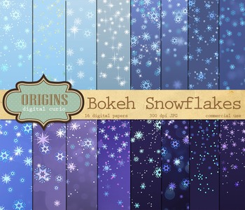 Frozen Snowflake Bokeh Confetti Winter Digital Paper