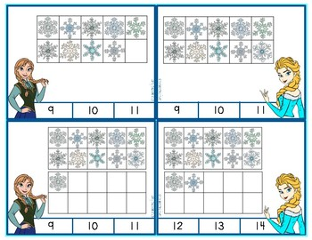 Frozen Ten Frame Counting and Addition Clip Cards