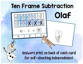 Frozen Ten Frame Subtraction Clip Cards