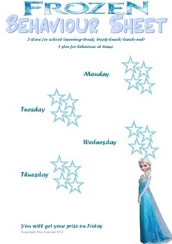 Frozen Theme Behaviour Sheet