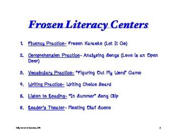 Frozen Theme Literacy Centers