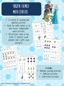 Frozen Themed Math Centers/ Task Boxes