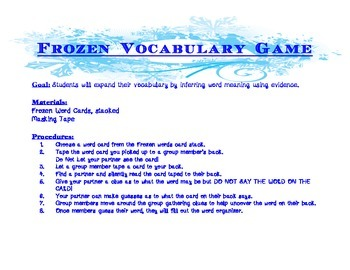 Frozen Vocabulary Game