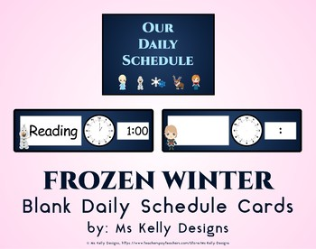 Frozen Winter Blank Daily Schedule Cards