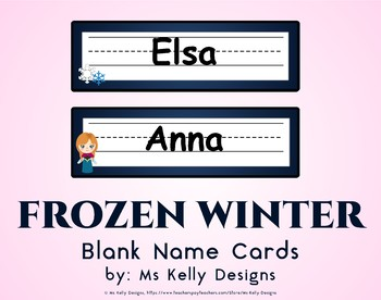 Frozen Winter Blank Name Cards