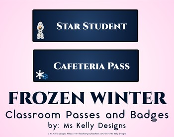 Frozen Winter Classroom Passes and Badges