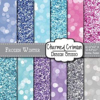 Frozen Winter Glitter Digital Paper 1130