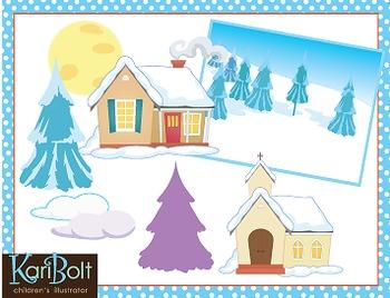 Frozen Winter Scenes Clip Art