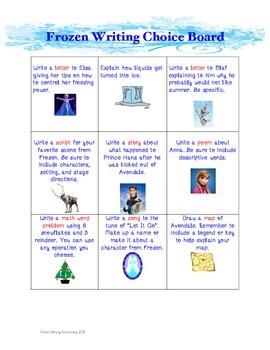 Frozen Writing Choice Board
