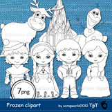 Frozen boys and girls clipart black & white, line art, col