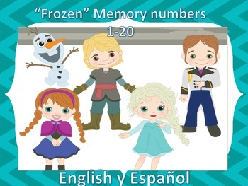 Frozen number memory 1-20 números Spanish & English