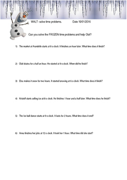 Frozen time word problems