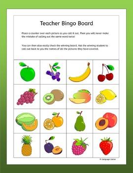 Fruit Bingo for EFL ESL EAL MFL
