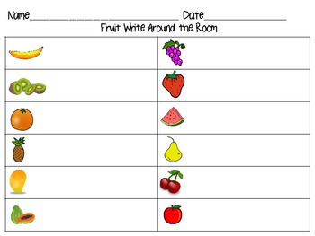 Fruit AND Vegetable Write Around the Room