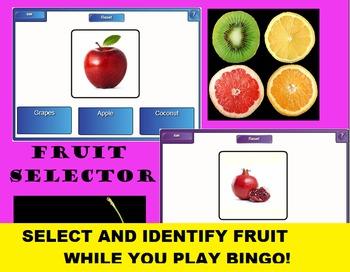 SMARTboard Fruit Bingo and Fruit Selector; Culinary, FACS, Nutrition, Vocabulary