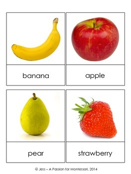 Fruit Classified Cards, Montessori three part cards, Literacy Center activities