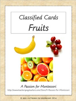 Fruit Classified Cards, Montessori three part cards, Liter