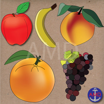 Fruit Clip Art- Delicious Apple, Banana, Strawberry, Grape