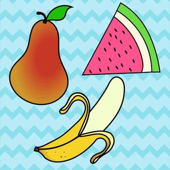 Fruit Clip Art Bundle, Individual Fruits Included ~ Apple Strawberry Kiwi & More