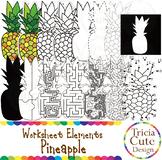 Fruit Clip Art Pineapple Worksheet Elements for Tracing Cu
